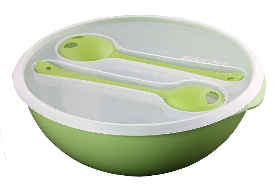 Salátová mísa s víkem a servírovacím příborem 3,5L